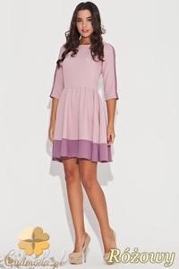 CM0470 KATRUS K057 Dwukolorowa sukienka rozkloszowana przed kolano - różowa - 2832071471