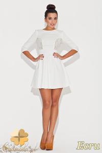 2da382c224 CM0471 KATRUS K068 Rozkloszowana sukienka z koronkowymi wstawkami - ecru -  2832071473