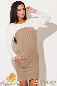 CM0484 KATRUS K106 Dwukolorowa sukienka mini tunika - beżowa - 2832071515