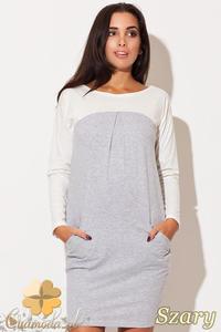 CM0484 KATRUS K106 Dwukolorowa sukienka mini tunika - szara - 2832071517
