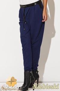 CM0512 KATRUS K107 Spodnie damskie pumpy dresowe ze skórzanym pasem - niebieskie - 2832071602