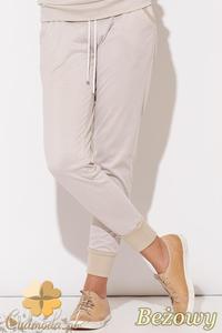 CM0513 KATRUS K095 Dresowe spodnie damskie z bawełny - beżowe - 2832071606