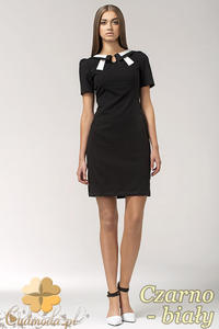 CM0553 NIFE S33 Sukienka z dwukolorowym kołnierzykiem i krawatką - czarno - biała - 2832071733