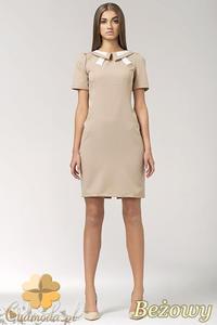 CM0553 NIFE S33 Sukienka z dwukolorowym kołnierzykiem i krawatką - beżowa - 2832071735