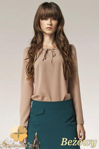 f43f1ce8eb7b02 CM0579 NIFE B32 Elegancka bluzka damska z bufkami długi rękaw- beżowa -  2832071836