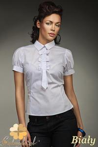 CM0587 NIFE K27 Koszula damska z ozdobną krawatką i kokardkami - biała - 2832071865