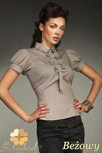 CM0587 NIFE K27 Koszula damska z ozdobną krawatką i kokardkami - beżowa - 2832071866