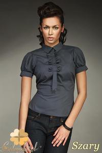 CM0587 NIFE K27 Koszula damska z ozdobną krawatką i kokardkami - szara - 2832071868
