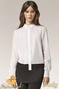 CM0594 NIFE K39 Długa dwukolorowa koszula damska - biała - 2832071891