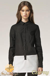 CM0594 NIFE K39 Długa dwukolorowa koszula damska - czarna - 2832071892