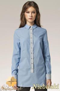CM0594 NIFE K39 Długa dwukolorowa koszula damska - niebieska - 2832071893