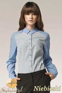 CM0595 NIFE K40 Dwukolorowa kobieca koszula - niebieska - 2832071896