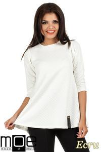 8fd18481b44b57 CM0668 Pikowana tunika bluzka damska z długimi rękawami - ecru - 2832072093