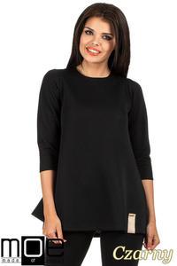 CM0668 Pikowana tunika bluzka damska z długimi rękawami - czarna - 2832072094
