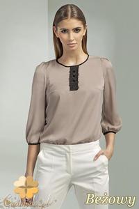 CM0698 NIFE B44 Bluzka damska z koronkową wstawką i ozdobnymi guzikami - beżowa - 2832072183