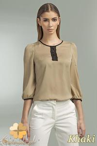 CM0698 NIFE B44 Bluzka damska z koronkową wstawką i ozdobnymi guzikami - khaki - 2832072186