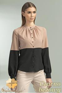 CM0699 NIFE B45 Dwukolorowa bluzka koszulowa ze stójką i długim rękawem - czarno - beżowa - 2832072187