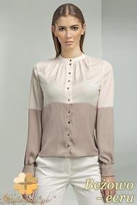 CM0699 NIFE B45 Dwukolorowa bluzka koszulowa ze stójką i długim rękawem - beżowo - ecru - 2832072188
