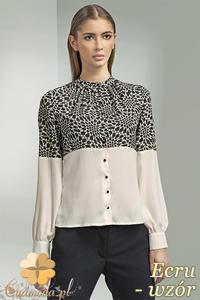 CM0699 NIFE B45 Dwukolorowa bluzka koszulowa ze stójką i długim rękawem - ecru - wzór - 2832072190