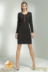 502188b2fd CM0701 NIFE S50 Gładka sukienka przed kolano z zamkiem na dekolcie - czarna  - 2832072196