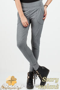 CM0683 Kobiece spodnie dresowe legginsy ze ściągaczami - szary melanż OUTLET - 2832072224