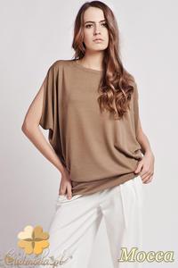 CM0723 LANTI BLU102 Kobieca bluzka kimono ze złotym zamkiem - mocca - 2832072270