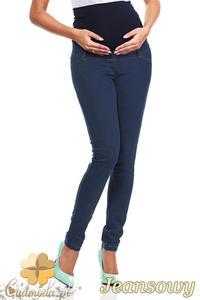 CM0729 Ciążowe jeansowe legginsy spodnie z elastycznym pasem - jeansowe - 2832072325