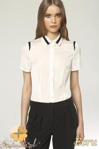 e0a2d60fd56053 CM0737 NIFE K41 Koszula damska z krótkim rękawem i wstawkami - ecru -  2832072344