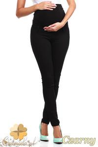 CM0729 Ciążowe jeansowe legginsy spodnie z elastycznym pasem - czarne - 2832072372