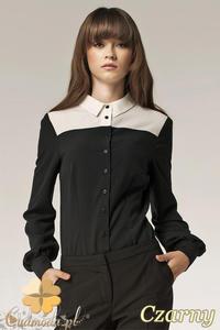 CM0578 NIFE B29 Dwukolorowa koszula damska z mankietami i kołnierzykiem - czarna OUTLET - 2832072401
