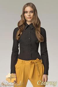 CM0597 NIFE K21 Klasyczna taliowana koszula damska - czarna OUTLET - 2832072403
