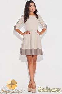 CM0470 KATRUS K057 Dwukolorowa sukienka rozkloszowana przed kolano - beżowa -20% - 2832072467