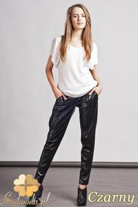 CM0757 LANTI SD103 Skórzane spodnie damskie - czarne
