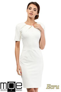 CM0219 Klasyczna elegancka sukienka ołówkowa - ecru - 2832069605