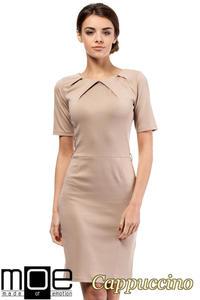 CM0219 Klasyczna elegancka sukienka ołówkowa - cappuccino - 2832069608