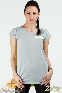 CM0748 Dwukolorowa bluzka damska z ozdobnym zamkiem - żółta - 2832072535
