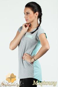 CM0748 Dwukolorowa bluzka damska z ozdobnym zamkiem - miętowa - 2832072536