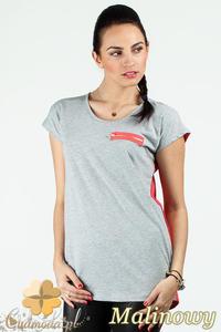 CM0748 Dwukolorowa bluzka damska z ozdobnym zamkiem - malinowa - 2832072538