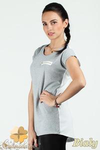CM0748 Dwukolorowa bluzka damska z ozdobnym zamkiem - biała - 2832072539