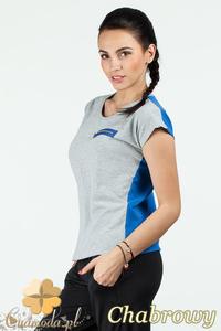 CM0748 Dwukolorowa bluzka damska z ozdobnym zamkiem - chabrowa - 2832072540