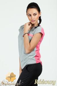 CM0748 Dwukolorowa bluzka damska z ozdobnym zamkiem - różowa - 2832072541