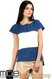 CM0756 Dwukolorowa bluzka w trzy pasy ze złotymi guzikami - jeansowa OUTLET - 2832072546