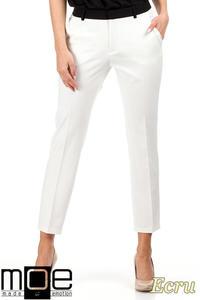 CM0777 Eleganckie spodnie damskie z kontrastowym pasem - ecru - 2832072577