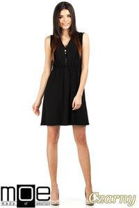 CM0764 Zwiewna sukienka z marszczeniem - czarna OUTLET - 2832072578