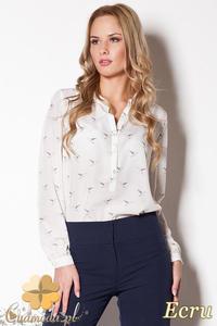 CM0781 FIGL M254 Zwiewna bluzka koszulowa w ciekawy wzór - ecru - 2832072639