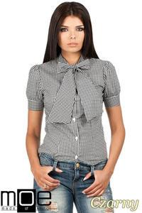 CM0786 Koszula damska w kratkę z kokardą i krótkim rękawem - czarna - 2832072696