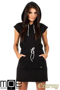 CM0819 Dresowa sukienka z kapturem i troczkami - czarna - 2832072814