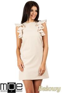 d8e13ce08e CM0817 Sukienka mini z falbanami przy ramionach - beżowa