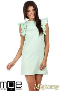 e7b9a48018 CM0817 Sukienka mini z falbanami przy ramionach - miętowa
