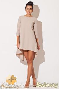 44ba415097 CM0833 KATRUS K141 Asymetryczna sukienka tunika z zakładkami z tyłu -  beżowa - 2832072872